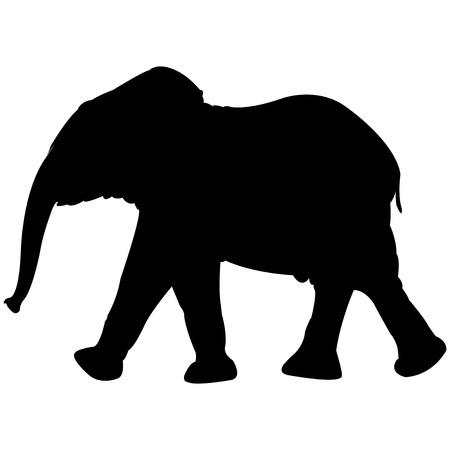 baby olifant silhouet geïsoleerd op een witte achtergrond, abstracte kunst illustratie  Stock Illustratie