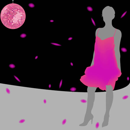 girl silhouette wearing pink dress over disco background; abstract composition; art illustration Stock Vector - 6496464