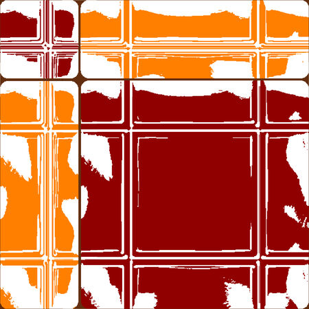 orange and red ceramic tiles, abstract seamless texture, art illustration Vector