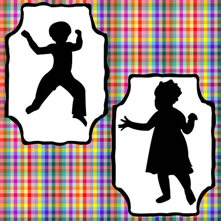 kids composition, abstract silhouettes over grunge texture,  art illustration Vector