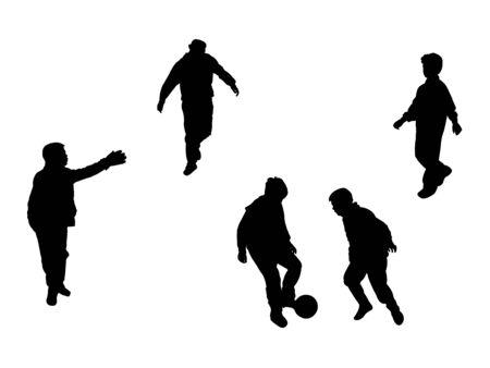 voet bal spelers silhouetten op witte achtergrond, abstracte kunst illustratie