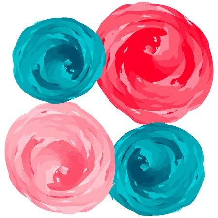 abstract roses composition over white background, art illustration 向量圖像