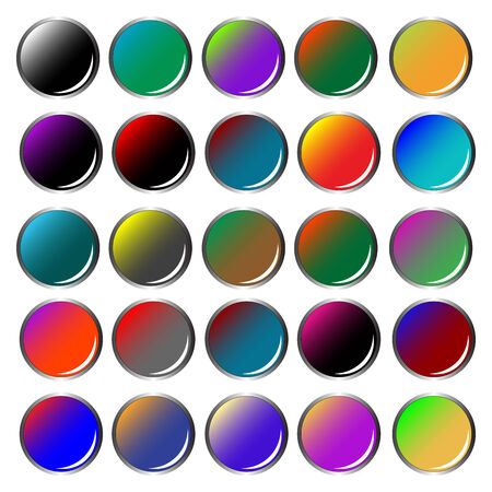 round colored web buttons isolated on white background, abstract  art illustration