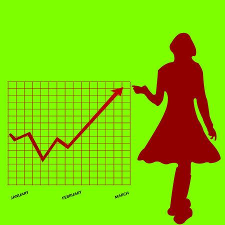 business chart and women clip-art, Stock Vector - 6570312