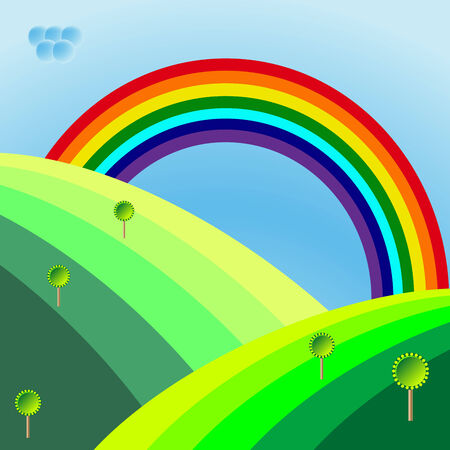 retro landscape with trees and rainbow,
