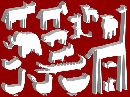animal figurines over red background, abstract art illustration Vector