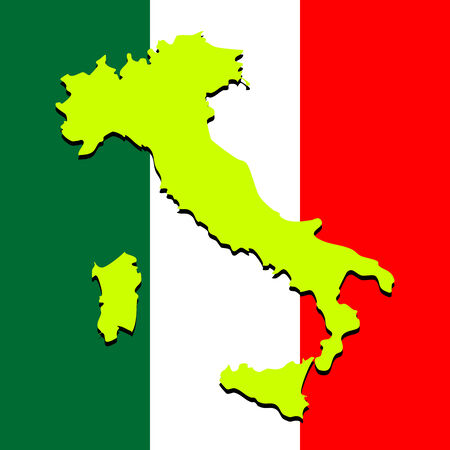 national colors: italy map over national colors, abstract art illustration