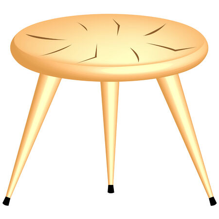 wooden stool: wooden chair isolated on white background, abstract art illustration Illustration