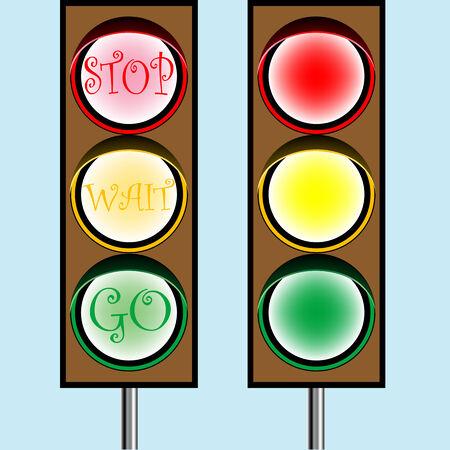 traffic lights cartoon, abstract art illustration