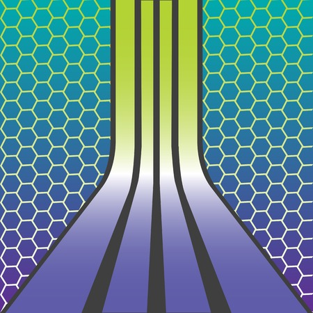 retro stripes composition over honey comb texture, abstract art illustration