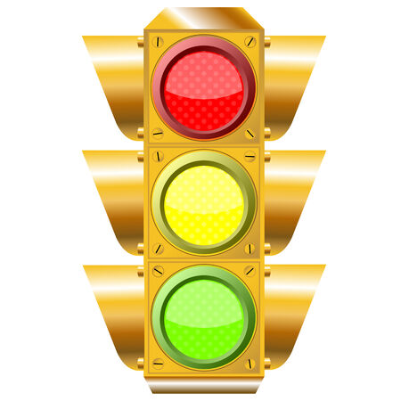 to proceed: cross road traffic lights over white background, abstract art illustration
