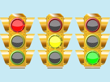 three different traffic lights, abstract composition over sky color background, art illustration