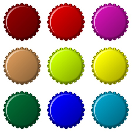 metal recycling: bottle caps in colors isolated on white background, abstract art illustration Illustration