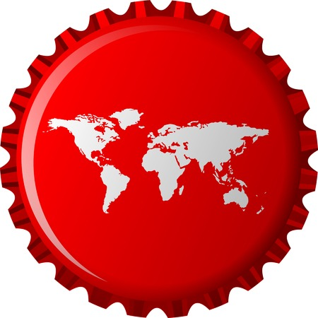 bottle cap: white world map on red bottle cap, abstract object isolated on white background, art illustration