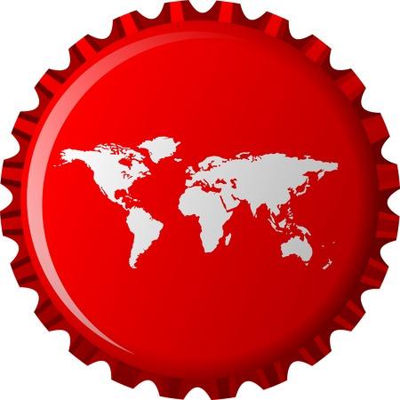 witte wereldkaart op rode kroonkurk, abstract die voorwerp op witte achtergrond, kunstillustratie wordt geïsoleerd