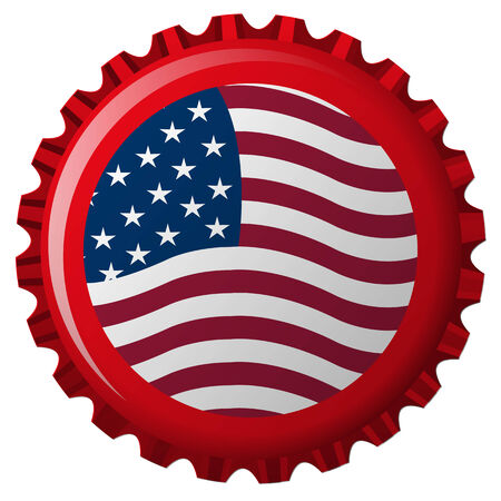 united states stylized flag on bottle cap Vector