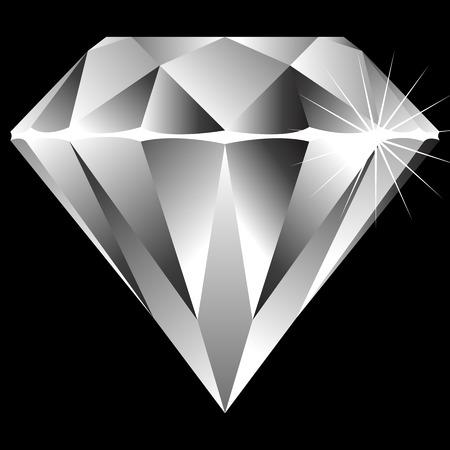 stein schwarz: Diamond isolated on black Background, abstrakt Illustration
