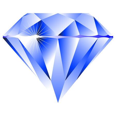 blauwe diamant geïsoleerd op witte achtergrond