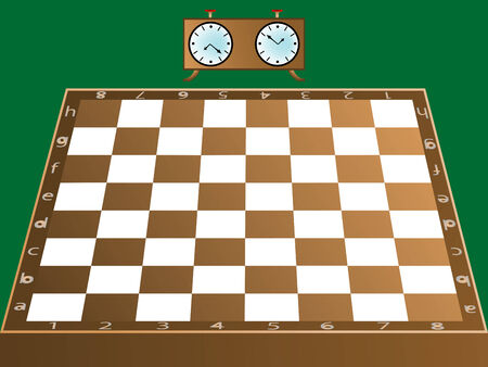chess board and clock Stock Vector - 6776204