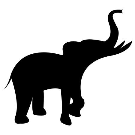 angry elephant: elephant black silhouette Illustration