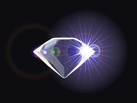 diamond with light reflection Vettoriali