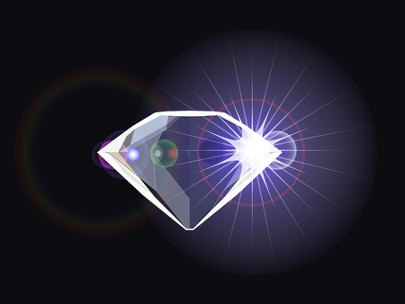 diamond with light reflection Vector