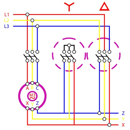 star delta electrical connection sketch