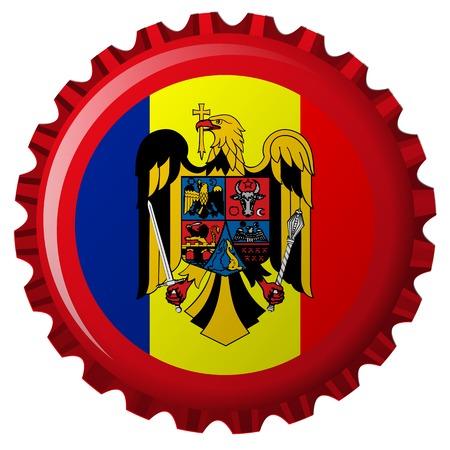 romania abstract flag on bottle cap 일러스트