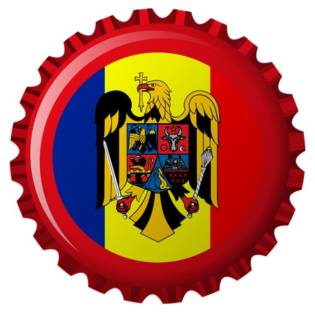 romania abstract flag on bottle cap Ilustracja