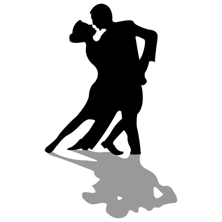 dansers zwarte silhouetten Stock Illustratie