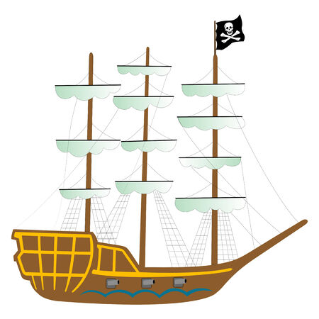 pirate ship isolated on white background, abstract art illustration Vector