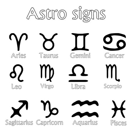 astro signs isolated on white background, abstract art illustration