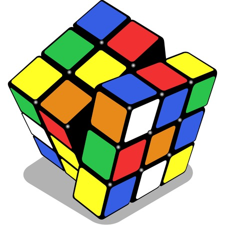 cube puzzle: rubik cube isolated on white background, abstract art illustration