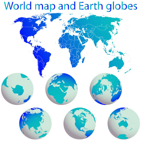 world map and earth globes against white background, abstract  art illustration Vector