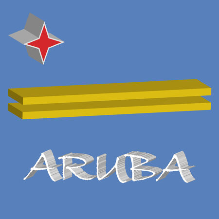 tridimensional: aruba tridimensional flag, abstract  art illustration