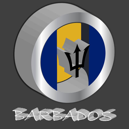 barbados tridimensional flag, abstract  art illustration