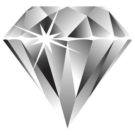 saffier: diamant tegen witte achtergrond, abstracte kunst illustratie