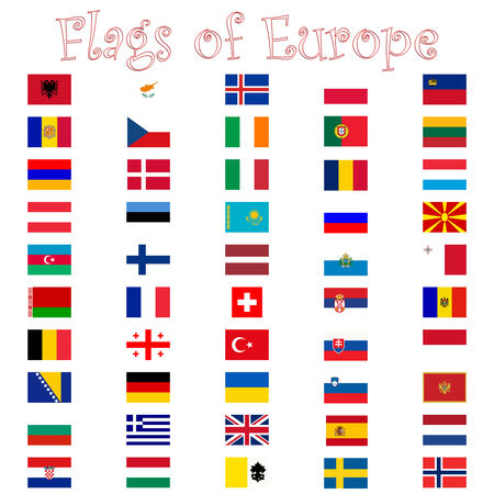west europe: flags of europe against white background, abstract art illustration