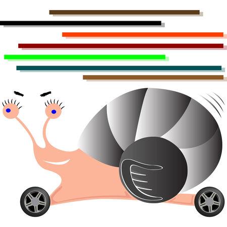 auto snail cartoon, abstract  art illustration Illustration
