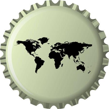 web cap: black world map against bottle cap, abstract  art illustration