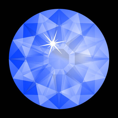 ruby gemstone: blue diamond against black background, abstract art illustration Illustration