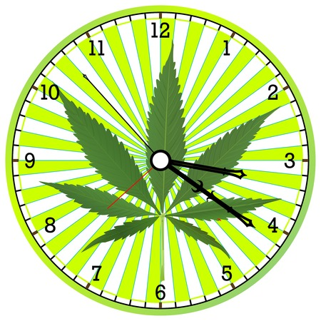 cannabis clock, abstract art illustration