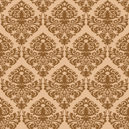 damask brown seamless texture, abstract pattern,  art illustration Stock Vector - 7068454