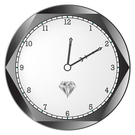 diamond clock against white background, abstract  art illustration Illustration