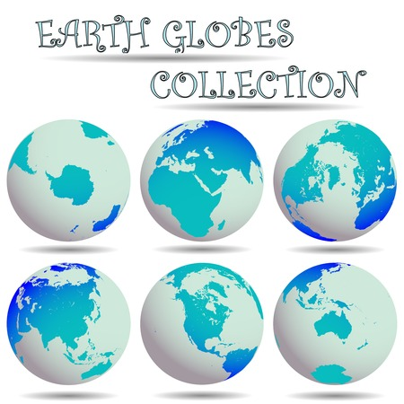 earth globes collection against white background, abstract  art illustration