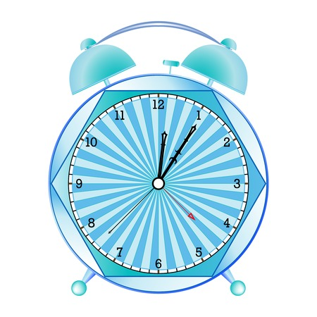 fancy alarm clock against white background, abstract art illustration