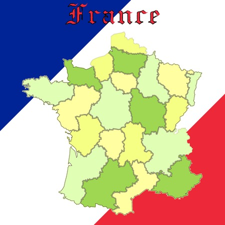 france map over national colors, abstract  art illustration Vector