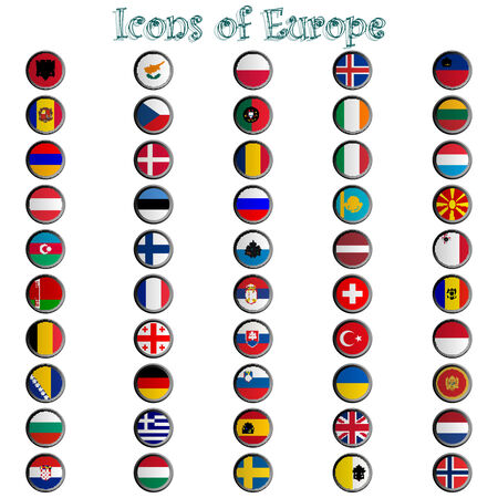 icons of europe complete collection, metallic symbols against white background, abstract  art illustration