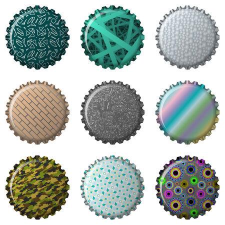 nine textured bottle caps, abstract  art illustration Vector