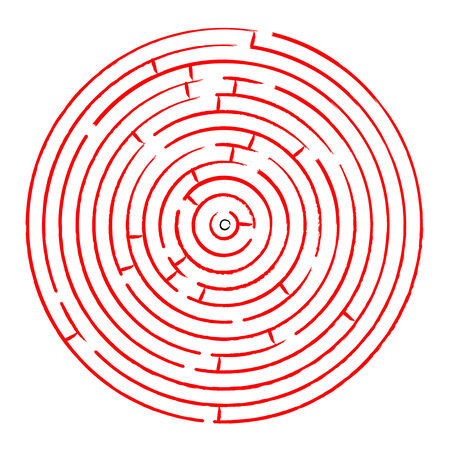 round red maze against white background, abstract  art illustration Stock Vector - 7068579